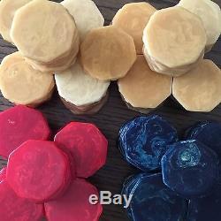 RARE! 1940's Set 190 OCTAGONAL 8-Sided Bakelite Poker Chips Blue Moon
