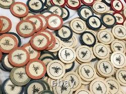 RARE ANTIQUE OLD WEST SALOON GAMBLING POKER CHIP SET 1800's CASINO CHIPS