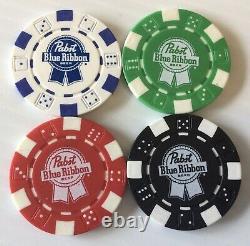 RARE Pabst Blue Ribbon Beer Poker Chip Set 300 Chips in Aluminum Case
