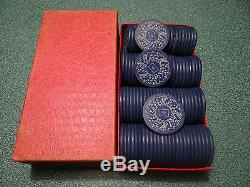 RARE Vintage Drueke CLAY Poker Chips Set No. 351 100 Chips Rare Design