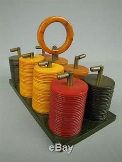 Rare Antique Bakelite Poker Chip Ship Set Metal Clasps 199 Chips with Caddy