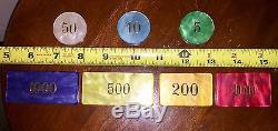 Rare European Vintage Poker Set Markers Counters Plaques ChipsWood CaseItaly