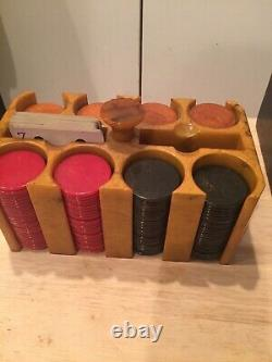 Rare Faux Leather Look Covered Bakelite Catalin Poker Chip Set w Rack ART DECO