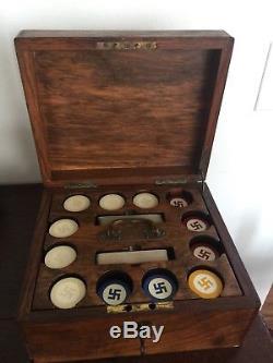 Rare Four Color Good Luck Swastika Poker Chip Set 296 ca 1920s Mahogany Case