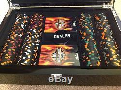 Rare Harley-Davidson Texas Holdem Flamed Poker Chip Set
