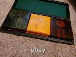 Rare Large Bakelite Catalin Poker Chip Holders Set Blue Moon Cranberry Etc