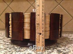 Rare Vintage Clay Golf Gaming Poker Chips Set with Wood Holder Box 290 Chips