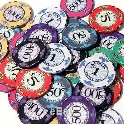 Scroll 10 gram Ceramic Poker Chip Set 1000 Acrylic Carrier and Racks