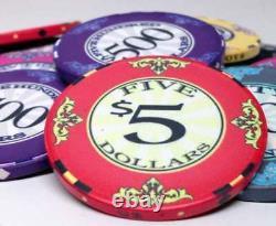Scroll 10 gram Ceramic Poker Chip Set 500 with Hi Gloss Wood Case