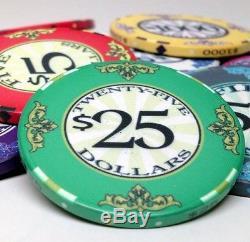Scroll 10 gram Ceramic Poker Chip Set 550 with Black Aluminum Case