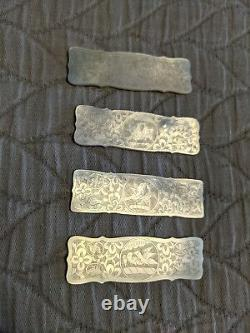Set Antique Chinese carved mother of pearl gaming counters gambling poker chip