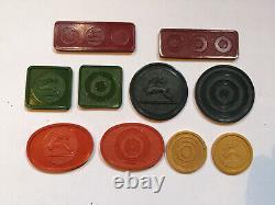 Set MODIANO ANTICHE FICHES in bachelite da gioco RARE! Poker chips bakelite