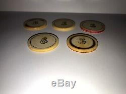 Set Of (5) Old West Poker Chips Cowboy Poker Tokens 1800's 5