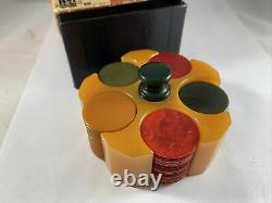 Set Of 93 Catalin Bakelite Poker Chips, 3 Colors, With Orig. Box And Chip Caddy