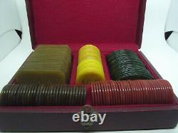 Set Vintage with 156 Galalith Boxed Marbled Poker Chips 1443g