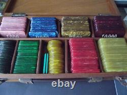 Set Vintage with 215 Galalith Boxed Marbled Poker Chips 3070g