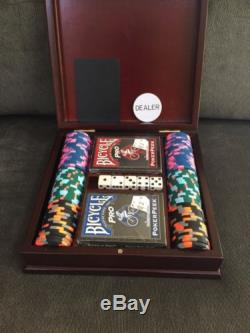 Set of 100 Paulson Private Card Room Poker Chips with wooden box/cards NICE SET