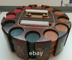 Set of 299 Vintage Catalin Poker Chips in a Wooden Art Deco Rack with Handle