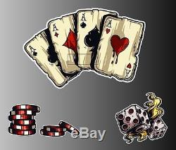 Set of 3 Vegas cards aces dice poker chips sticker vinyl decal