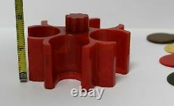 Small Vintage Red Catalin Bakelite Poker Chip Caddy Holder With Chips 85pc Set