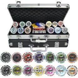 Star Trim Sticker Poker Chip Set Aluminum Box Abs Metal 100 200 300 400 500 Pcs