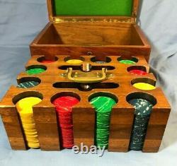 Stunning Vintage Poker Set + 300 Bakelite Chips Inlaid Solid Walnut Case