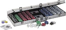 Texas Hold Em Poker Chip Set With 500 Striped Dice Chips In Silver Aluminum Case