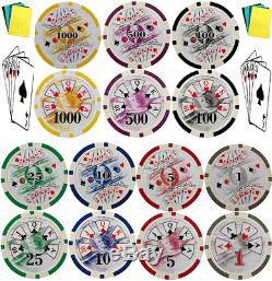 Texas Holdem 1000 Real Poker Chips with Gaming Accessory Standard Weight 11.5 gram