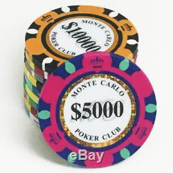 Texas Holdem Popular Poker Chip Set Monte Carlo 500ct 14g Black Aluminum Case
