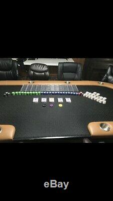 Texas holdem Furniture Poker Set Table With Canyon Bluff 13.5 Chip Set Custom