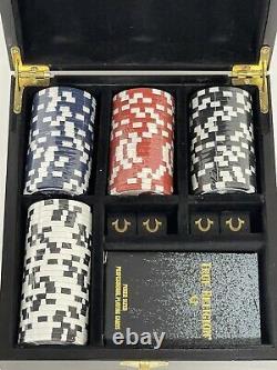 True Religion Poker & Dice Set Gold Cards, Heavy Chips Custom Case RARE