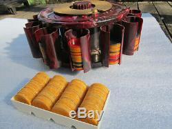 Turnit Poker Chip Rack / Caddy & Card Holder, Cranberry Marbled Vintage Bakelite