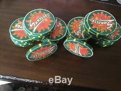 Unique poker game set of 580 chips from Sunrise Casino Las Vegas NV