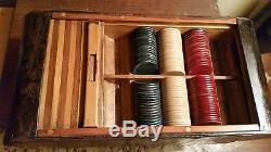 Very Unique Antique Poker Chip Set With Roll Top Cover And Locking Drawer