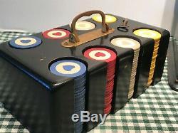 VINTAGE CLAY POKER CHIP SET LOCKING BOX WithBRASS HARDWARE & KEY