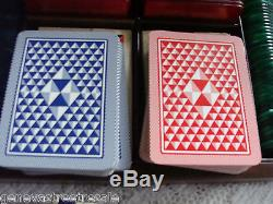 VINTAGE DEL NEGRO TREVISO ITALY 209 EUROPEAN POKER CHIPS with 4 decks cards & case