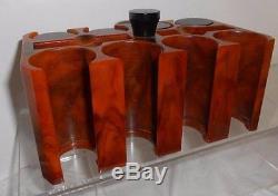 VINTAGE! Excellent! BAKELITE POKER CHIPS & CADDY SET brown BUTTERSCOTCH red
