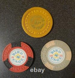 VINTAGE POKER CHIPS 1958-59 BIRD CAGE CASINO RARE! 10 Cent, $5, $25 SET