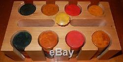 VINTAGE SET 200 RED BUTTERSPCOTCH GREEN BAKELITE POKER CHIPS WithRACK & CASE EUC