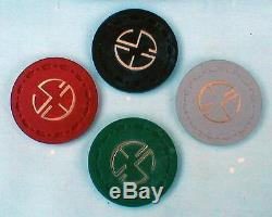 VINTAGE SET OF 500 CLAY POKER CHIPS WITH CASE MAYBE 1940'S 50'S ERA INITIALS E S