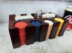 VINTAGE Set of 200+BAKELITE Poker Chips Wood Box & Rack Insert