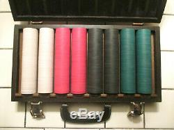 VINTAGE UNUSED (4) PLAYERS 400 CHIPS POKER SET BY Paulson Top Hat & Cane