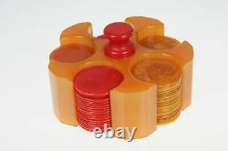 VTG Catalin Bakelite Marbleized Butterscotch Mini Poker Chip Set Caddy & Chips