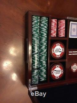VTG World Poker Tour Chip Set Wood Case Dice Coasters Dealer Button