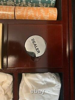 Very Rare 500 11.5 clay poker chip set, World Poker Tour Wood Case With Dice And