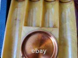 Very Rare Large Swirled Bakelite Catalin Poker Chip Holders Set in Case
