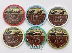 Very Rare Las Vegas Hard Rock Casino Triple Crown Paulson Poker Chips Set Of 6