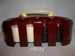 Vintage 189 Clear Poker Chip Set Catalin / Bakelite Rack Art Deco Victory