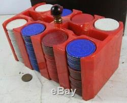 Vintage 1930's Large Red Bakelite Catalin Poker Chip Set