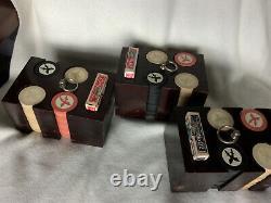 Vintage 1940s Poker Chip set 288 Flat Edge Scimitar 3 decks Bee playing cards